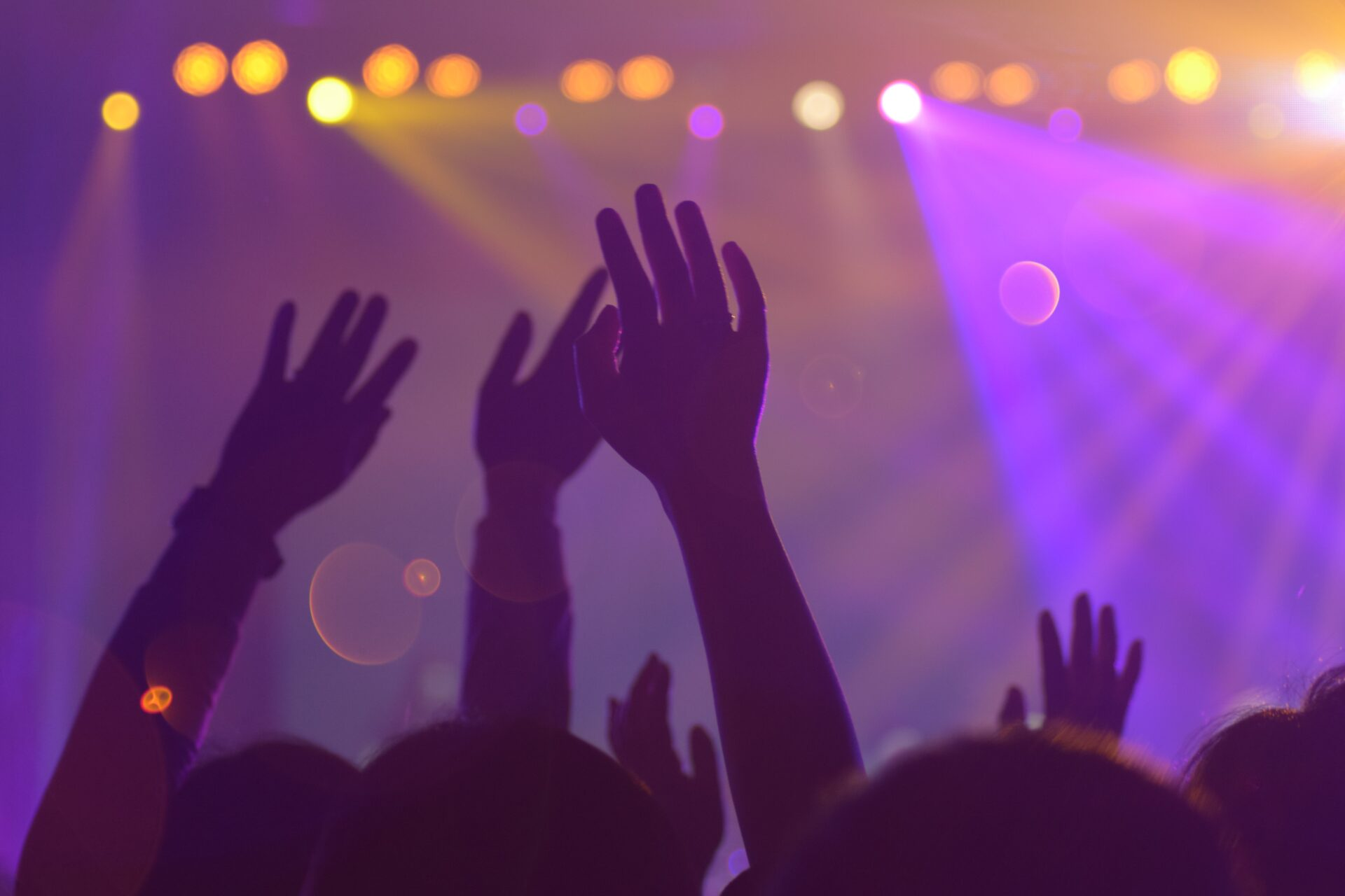 People with their hands up at a concert.