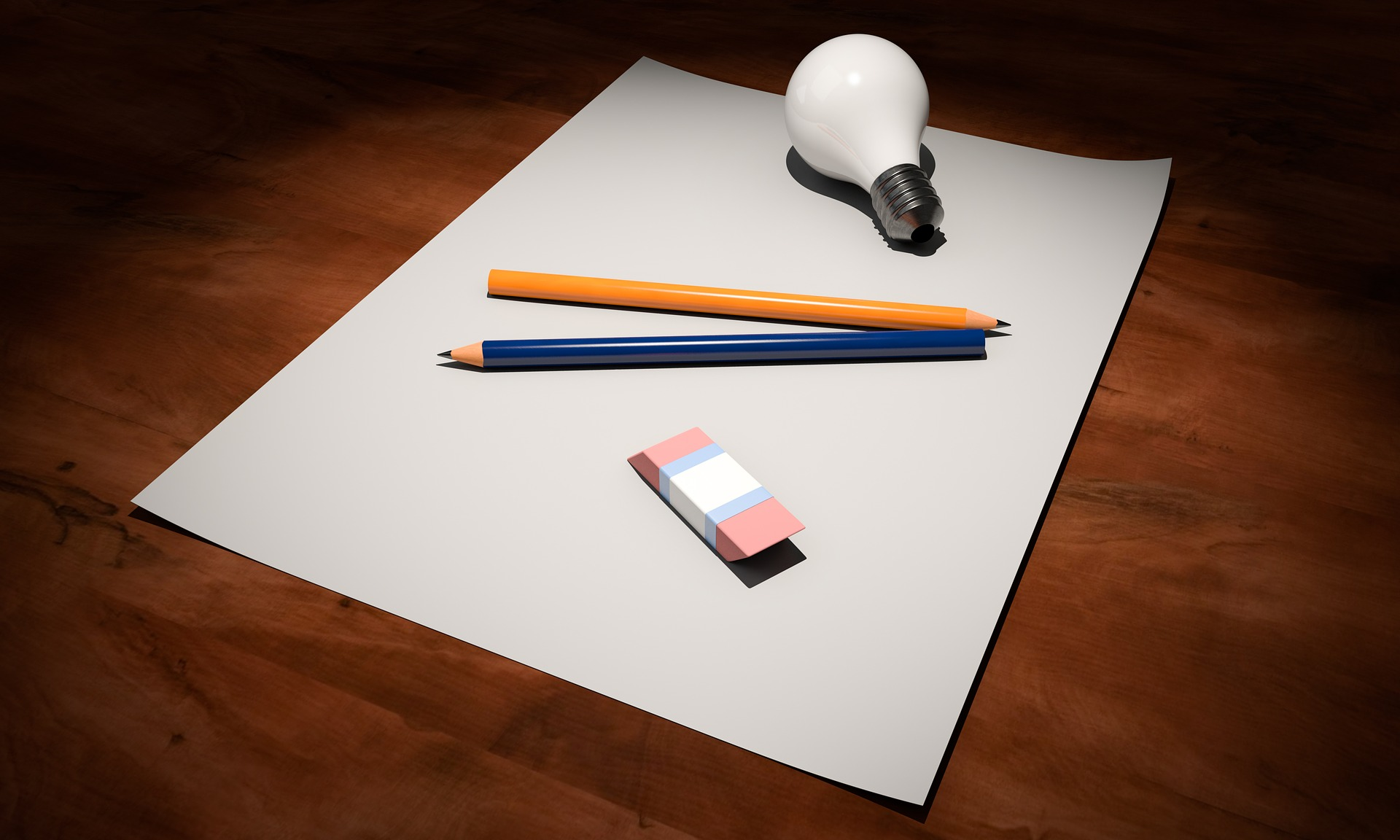 A piece of paper and a pencil.