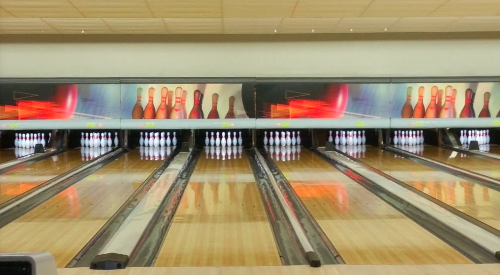 Bowling lanes at Rev's Bowling Alley.