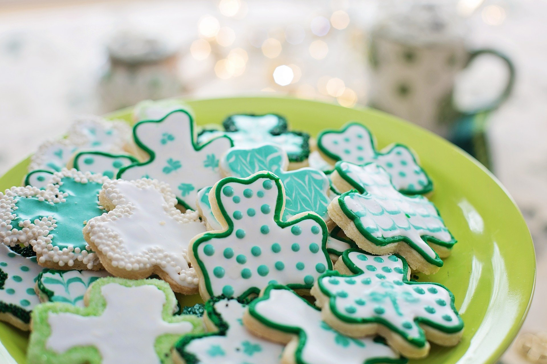 A plate of St. Patrick's Day cookies.