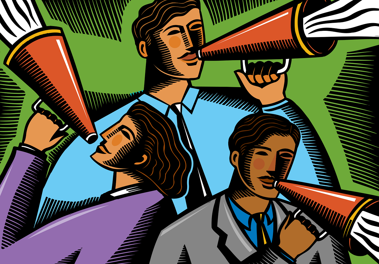 A cartoon of people talking with megaphones.